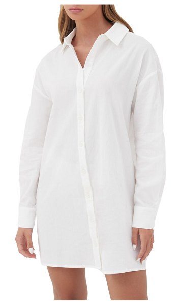 4th & Reckless x jourdan sloane valencia oversize cotton button-up shirt in white