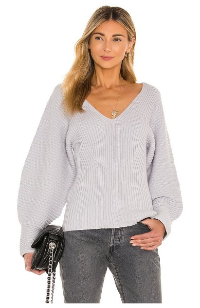 525 rib double v neck dolman sweater in cool grey
