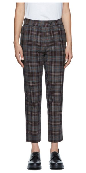 6397 purple check relaxed trousers in purple plai