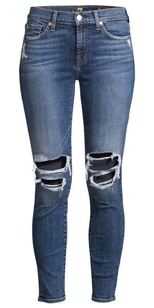 7 For All Mankind ankle skinny distressed jeans in blue