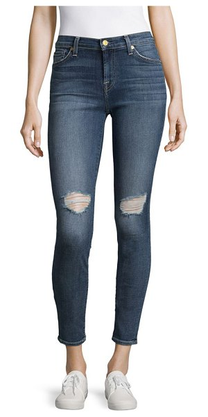 7 For All Mankind Cotton-Blend Distressed Ankle Jeans in athentic - Whiskered ankle jeans elevated with distressed design....