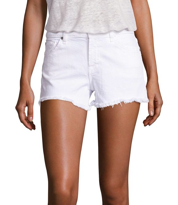 7 For All Mankind cut-off denim shorts in clean white