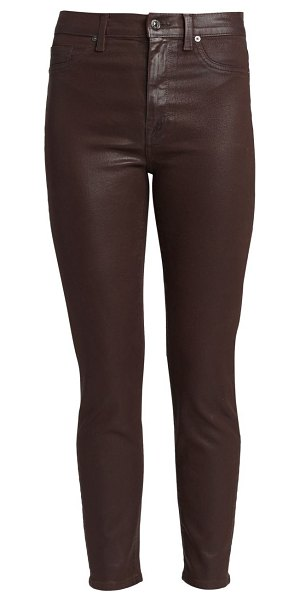 7 For All Mankind high-rise coated ankle skinny jeans in coated mocha