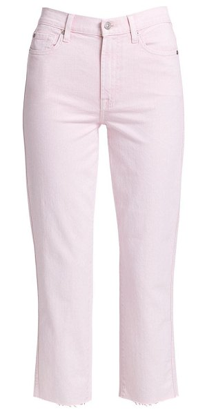 7 For All Mankind high-rise cropped straight jeans in mineral pink