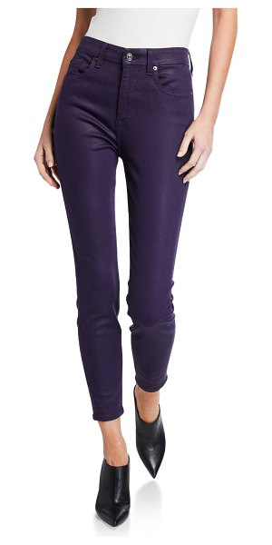 7 For All Mankind High-Rise Faux-Pocket Skinny Pants in royal purple