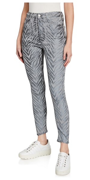 7 For All Mankind High-Rise Skinny Ankle Jeans in metallic zebra