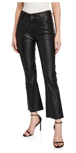 7 For All Mankind High-Rise Slim-Leg Kick Flare Jeans in jet black