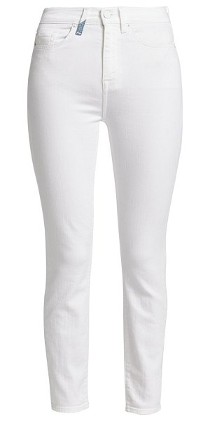 7 For All Mankind high-rise tri-tone pocket skinny ankle jeans in white