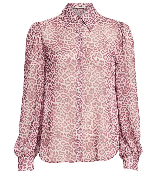 7 For All Mankind leopard puff-sleeve blouse in rose leopard