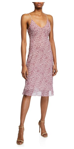7 For All Mankind Leopard Seamed Slip Dress in rose leopard