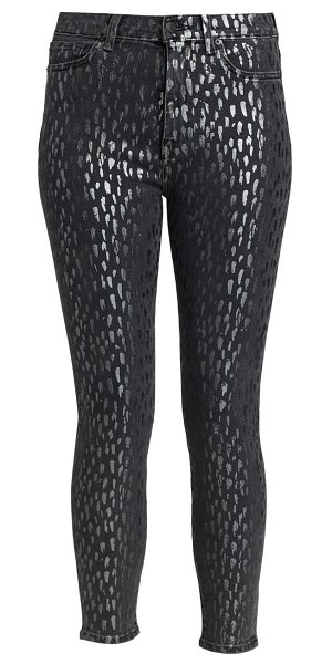 7 For All Mankind metallic leopard high-rise skinny jeans in foil snow leopard