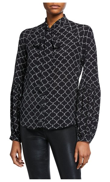 7 For All Mankind Printed Tie-Neck Blouson-Sleeve Top in black and white
