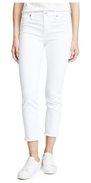 7 For All Mankind roxanne ankle jeans with raw hem in white