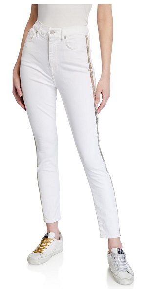 7 For All Mankind Side-Striped Skinny Ankle Jeans in sunset