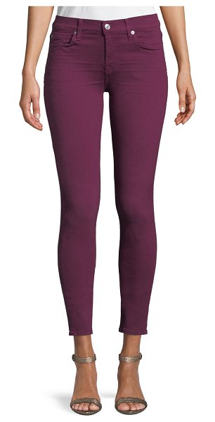 7 For All Mankind The Ankle Skinny Coated Jeans in fuchsia