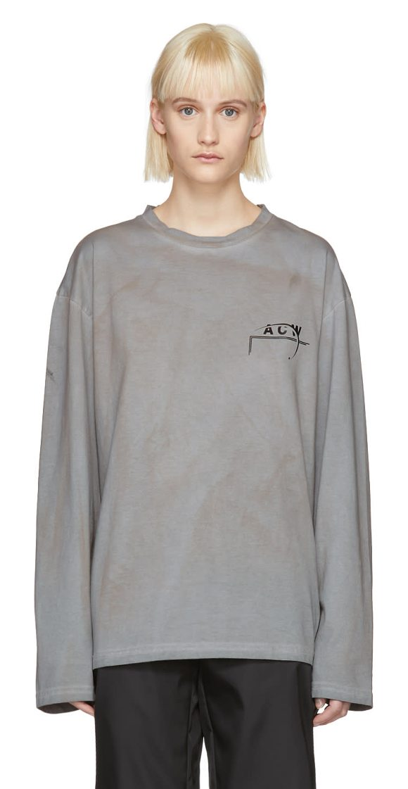 A-COLD-WALL* Long Sleeve 17 Leavers T-shirt in grey - Long sleeve garment-treated cotton jersey t-shirt in...