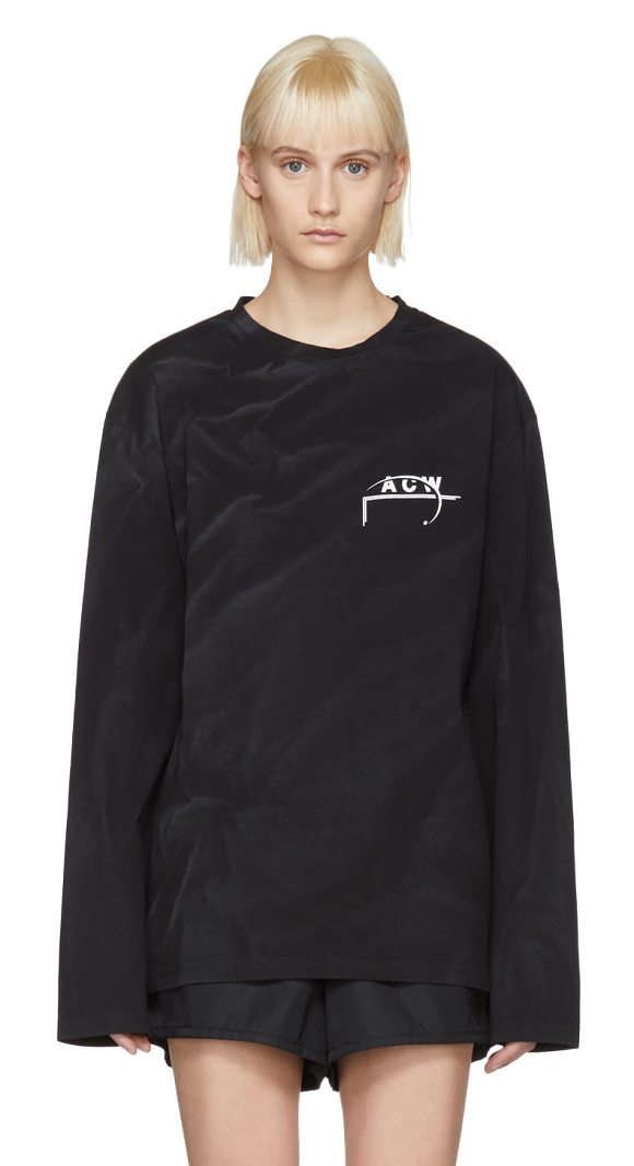 A-cold-wall* Long Sleeve 17 Leavers T-shirt in black - Long sleeve garment-treated cotton jersey t-shirt in...