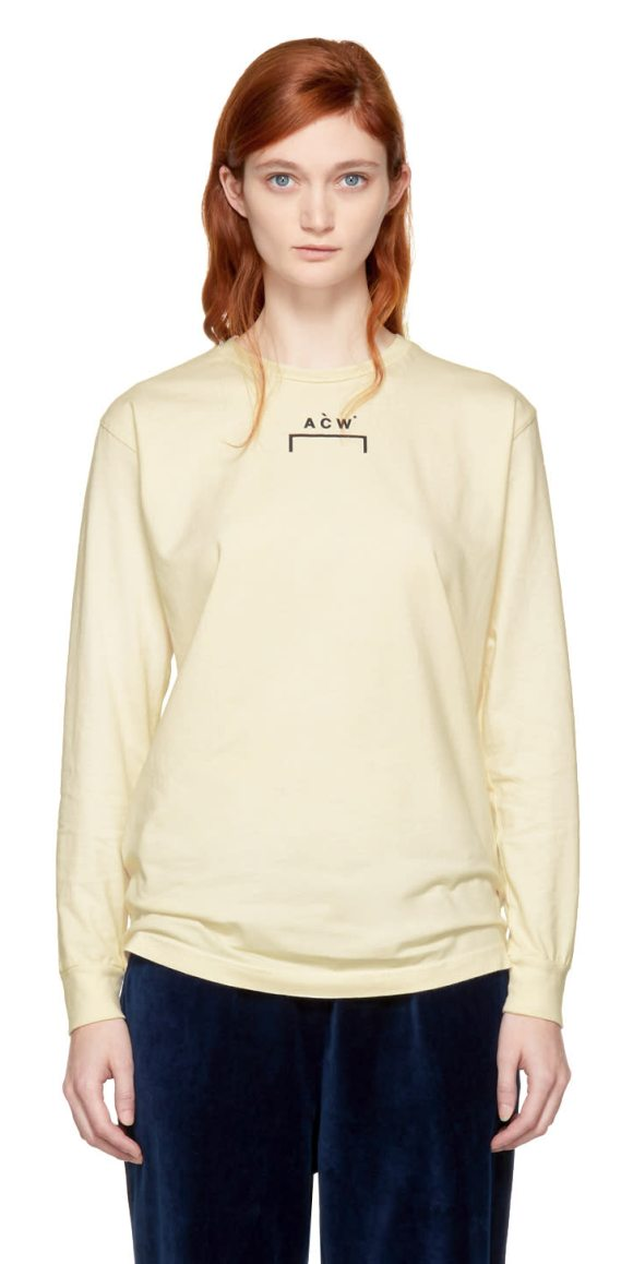 A-COLD-WALL* Long Sleeve Signature B-1 T-shirt in off-white - Long sleeve cotton jersey t-shirt in pebble dash cream...