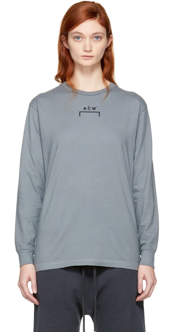 A-cold-wall* Long Sleeve Signature B-1 T-shirt in grey - Long sleeve cotton jersey t-shirt in slate grey. Fading...