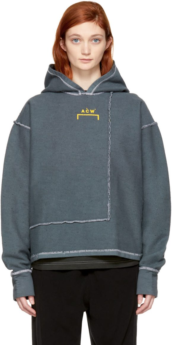 A-cold-wall* Version 2 Signature Hoodie in grey - Long sleeve panelled cotton terry hoodie in slate grey....