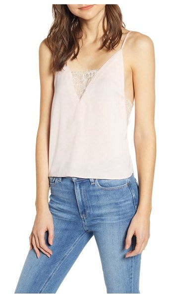 A LA PLAGE lace inset camisole in blush