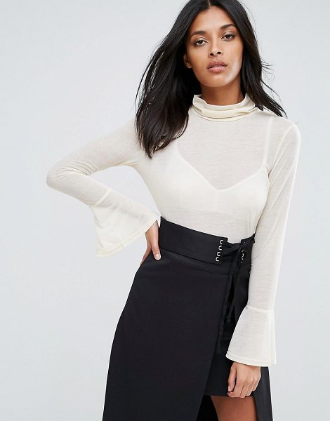 """A State Of Being chantelle top with high neck and flare sleeves in nude - """"""""Top by A State Of Being, Semi-sheer fabric, High neck,..."""