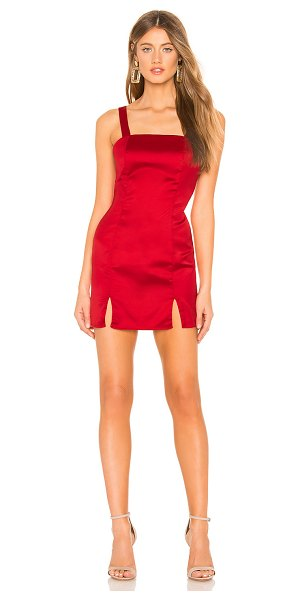 About Us Keira Mini Dress in red - 95% poly 5% spandex. Hand wash cold. Fully lined. Satin...