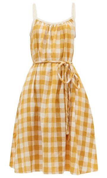 ace & jig noelle checked tie-waist cotton dress in yellow