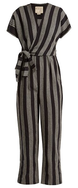 Ace Jig Striped V Neck Wrap Cotton Jumpsuit In Black Shopstasy