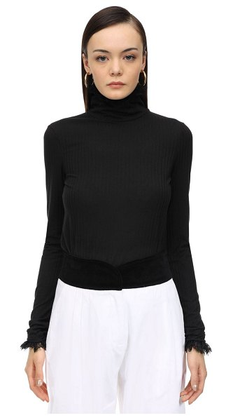 Àcheval Pampa Stretch jersey top w/ lace in black