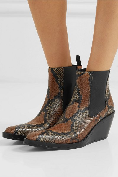 Acne Studios bleeker snake-effect leather wedge ankle boots in snake print