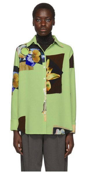 Acne Studios green crepe staia shirt in pale green