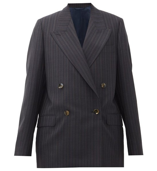 Acne Studios janny double-breasted striped wool jacket in navy