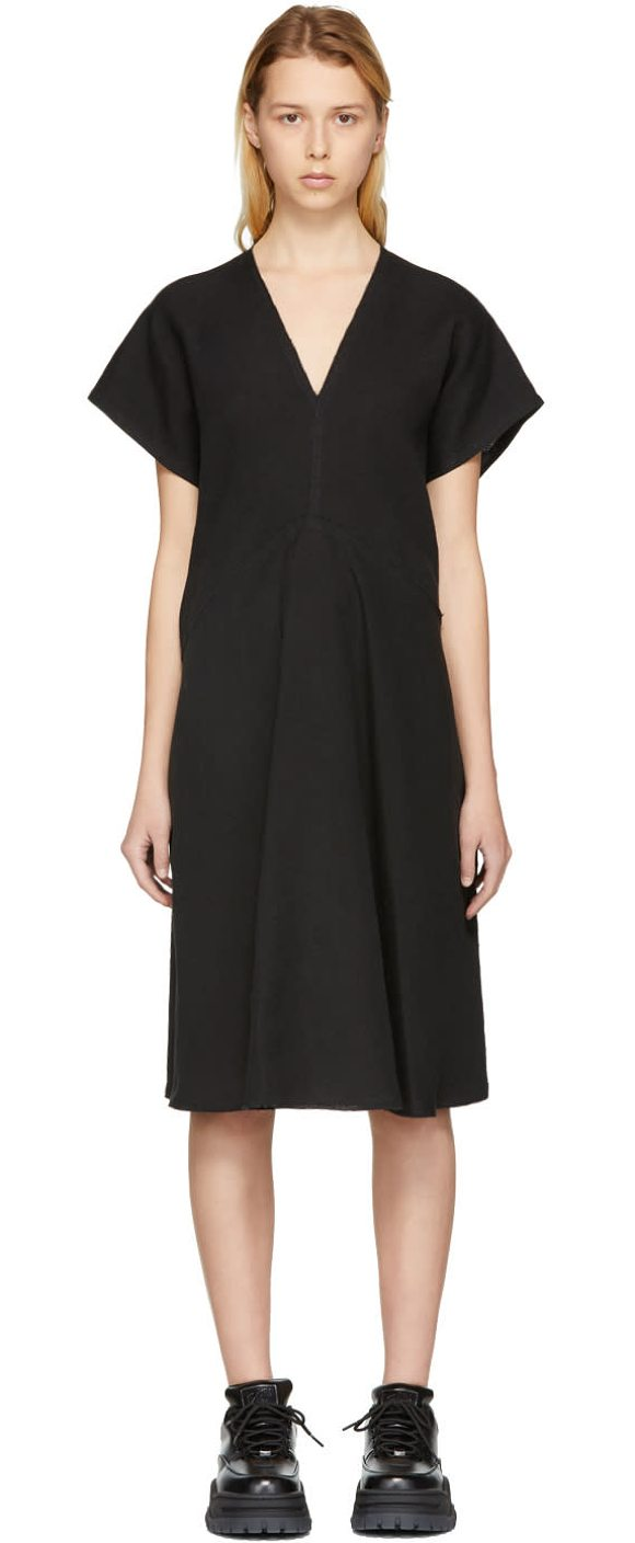 Acne Studios Jessa Raw Linen Dress In Black Cap Sleeve Panelled Woven