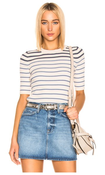 Acne Studios Kassandra Knit Top in blue,neutral,stripes - 58% cotton 39% nylon 3% elastan.  Made in China. ...