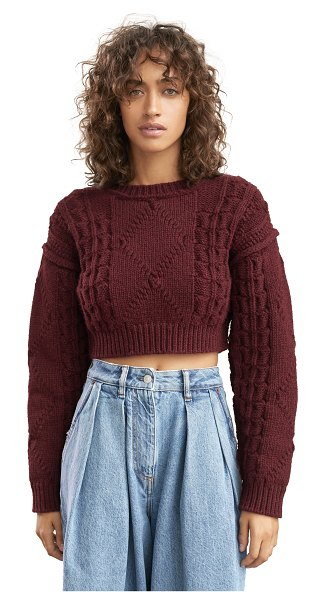 Acne Studios katinka reverse cable sweater in maroon red
