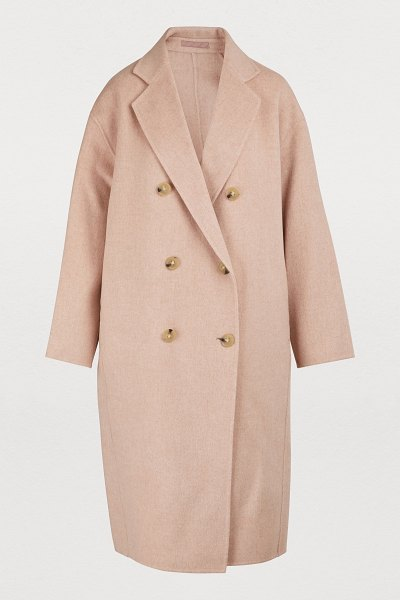 Acne Studios Men's coat in pale pink melange - Wrap yourself in the loose lines and long cut of this...