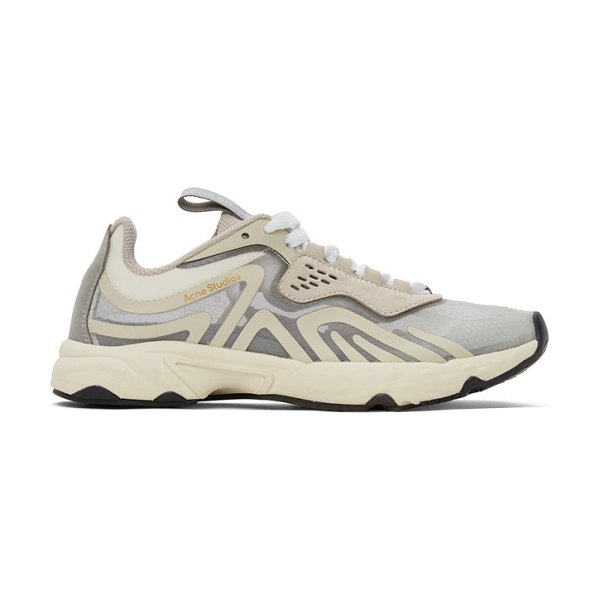 Acne Studios off-white transparent mesh sneakers in bwn whtivor
