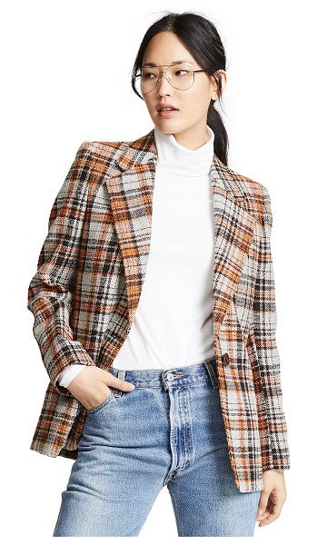 Acne Studios plaid blazer in white/orange - Fabric: Tweed Plaid pattern Mid-length profile Collared...