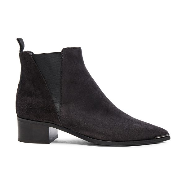 Acne Studios Suede Jensen Boots in black - Distressed suede upper with leather sole.  Made in...