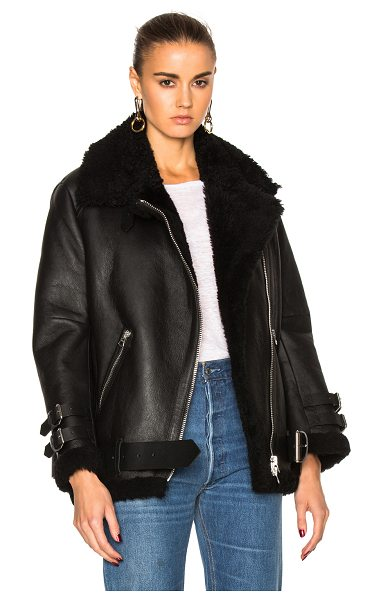 ACNE STUDIOS Velocite Leather Jacket - Self: 100% lambskin leather - Fur: 100% real dyed lamb...
