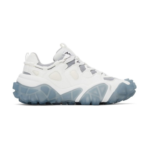 Acne Studios white and blue lace-up sneakers in white,blue