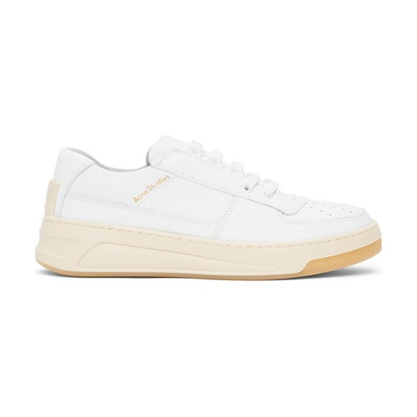 Acne Studios white steffey lace-up sneakers in 100 white