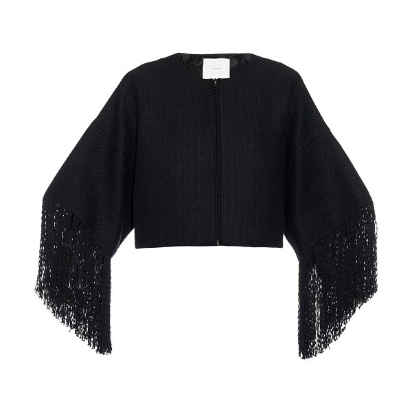 Adam Lippes Basketweave Fringed Cropped Jacket in black - Adam Lippes - Adam Lippes looked to the tropical climes...