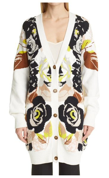 Adam Lippes floral chunky knit cotton long cardigan in ivory floral