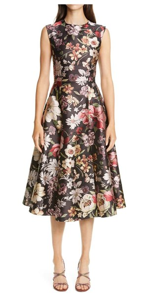 Adam Lippes floral jacquard fit & flare midi dress in black floral