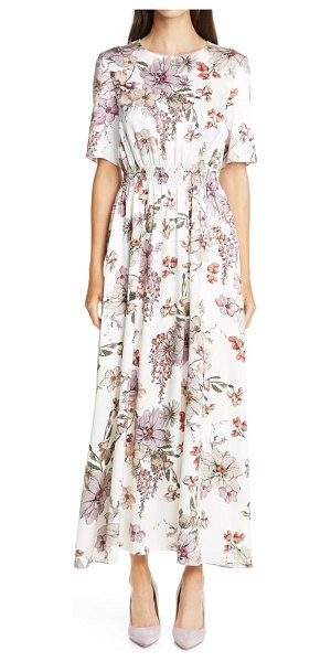 Adam Lippes floral print smocked waist maxi dress in white floral