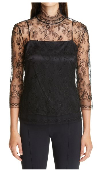 Adam Lippes layered chantilly lace blouse in black