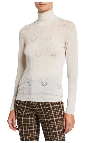 Adam Lippes Lightweight Cashmere Floral Sweater in ivory