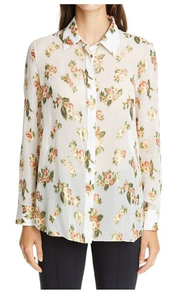 Adam Lippes metallic floral fil coupe silk blend blouse in ivory floral